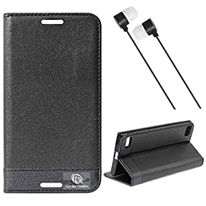 DMG BlackBerry Z3 Flip Cover, DMG PRaiders Premium Magnetic Wallet Stand Cover Case for BlackBerry Z3 (Black) + Black Stereo Earphone with Mic and Volume Control