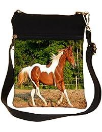 Snoogg Single Horse Running Cross Body Tote Bag / Shoulder Sling Carry Bag