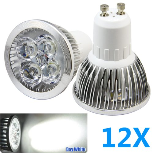 Bao Xin ]4W Ultra Bright Gu10 Led Light Bulb Day White 6000K 50W Equivalent, Energy Saving, Perfect For Replacement 50 - 60 Watt Halogen Bulbs (12 Pieces)