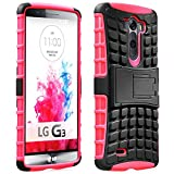 Fosmon [RUGGED] LG G3 Case - HYBO-RAGGED Heavy Duty Hybrid Protective Cover with Kickstand - Retail Packaging (Hot Pink / Black)