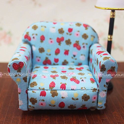 Jewelryfinds-Sofa-Armchair-WStrawberry-For-Single-One-Person-Dollhouse-Miniature-112-Scale