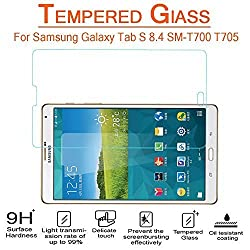 AnoKe Samsung Galaxy Tab S 8.4 SM-T700 T705 Tempered Glass Screen Protectors 9h Hardness, 0.3mm Thickness For (T700) new