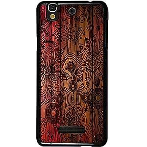 Casotec Dark Wooden Background Design 2D Hard Back Case Cover for Micromax Yu Yureka AQ5510 / AO5510 - Black