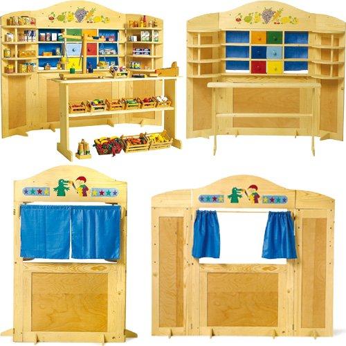 kaufladen kasperletheater holz. Black Bedroom Furniture Sets. Home Design Ideas