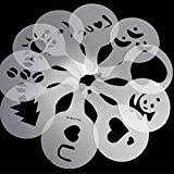 16pcs Cappuccino Coffee Stencils Template Strew Pad Duster Spray