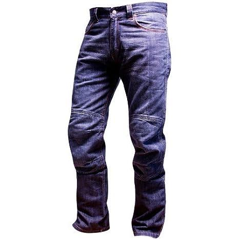 OnTour Pantalon moto Jean Kevlar Taille 31 Bleu 34 jambe Genouillères de protection