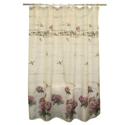 Famous Home Fashions Savon De Rose Fabric Shower Curtain