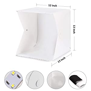 Depthlan Photo Light Box Photographing Shooting Tent for Small Items and Jewellery 13x13 inch with Four Backdrops Included Folding Photo Studio Kit Bo