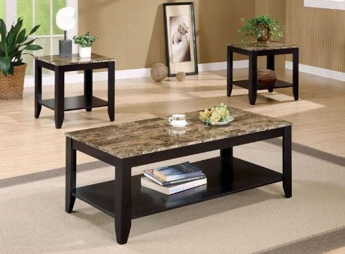 Coaster Furniture Three Piece Occasional Table Set With Shelf And Marble Look Top