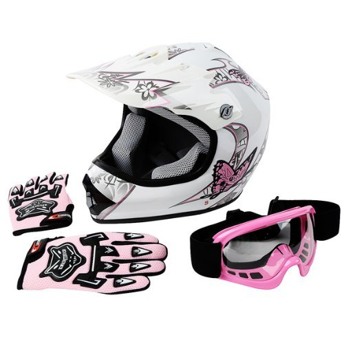 Senhill DOT Motocross Helmet Unisex Offroad Helmet Dirt Bike ATV Motorcycle Helmet Gloves Goggles Yellow, L