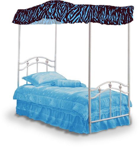 Blue Zebra Print Faux Fur Fabric Twin Size Canopy Bed Top