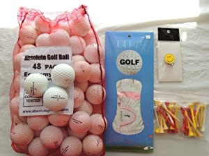 Ladies Gift Box With 36 Recycled Golf Balls In Mesh Bag With Free Tee