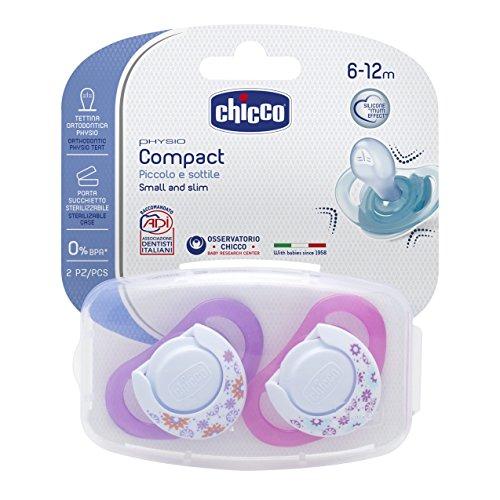 Chicco 00074833110000 Compact Girl Succhietto, Silicone, Rosa, 6-12 Mesi, 2 Pezzi