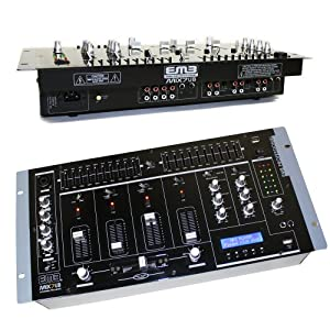 """EMB MIX7UB 19"""" Rack Mount 4 Channel Professional Mixer w/USB, Adjustable cross faders and more"""