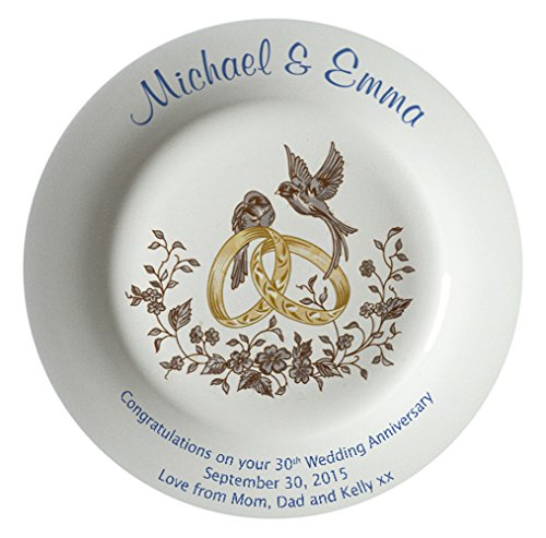 Personalized Bone China Commemorative Plate For A 30th Wedding Anniversary - Rings And Doves Design With A Plain Rim