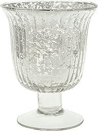 Luna Bazaar Vintage Mercury Glass Vase (5-Inch, Fluted Urn Design, Silver) - Decorative Flower Vase - For Home Decor and Wedding Centerpieces