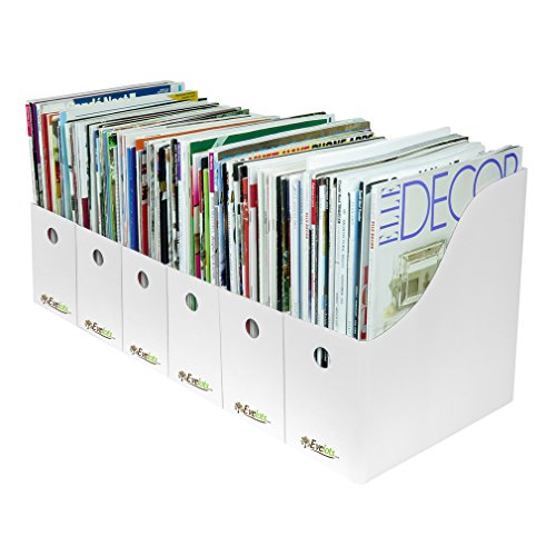 Evelots 6 Magazine/File Holders & Labels,Assorted Colors & Styles,White