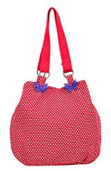 Pick Pocket red and white dot printed canvas jholi bag