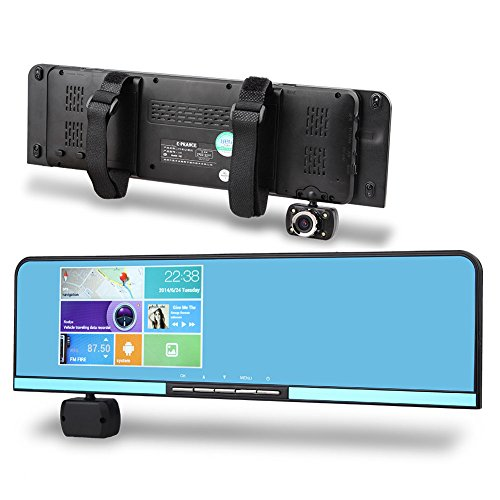 "E-Prance Android 4.0 5.0"" Touch Screen Parking Display Car Dual Camera Dvr Rearview Mirror With Gps Navigation 175 Degree Lens Wdr Motion Detection And G-Sensor"