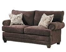Hot Sale Homelegance 9729-2 Elena Love Seat, Dark Brown Chenille