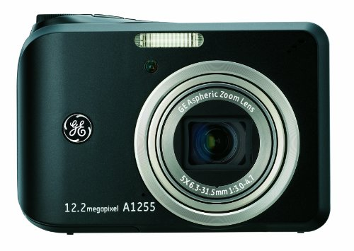GE A1255 12 MP Digital Camera with 5X Optical Zoom and 2.7-Inch LCD with Auto Brightness (Black)