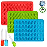 3 Pack Gummy Bear silicone Molds- 150 gummy bears total +3 Droppers- BPA Free