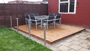 4m x timber garden patio decking kit for for Garden decking kits uk