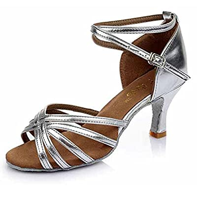Hot-Selling Brand New Latin Dance Shoes High Heel for Ladies/Girls/Women/Ballroom Tango Shoes 7cm-Knotted Silver,6