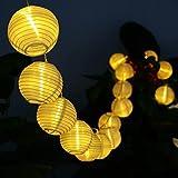 Beleuchtung - Deallink 20er Lampions LED Lichterkette mit Batteriehalter Garten Au�en- und Innenbereich 2,2 Meter Warmwei�(AA Batteriebetrieben)