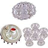 GS MUSEUM Silver Plated Rani Kumkum Plate, Silver Plated 4 Inchi Pooja Thali Nag And Silver Plated Set Of 6 Standing...