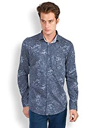 EASIES Men's Casual Shirt (81561 APRICOT NVYCSMSPRNT_L-$P, Blue, S)