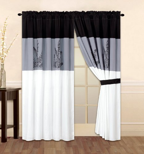 Modern Black, White, Grey Alyssa Vine Window Curtain / Drape Set With Sheer Backing 120-By-84-Inch front-164817