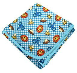 SheetWorld Flannel Receiving Blanket - Safari Animals Blue Check - Made In USA