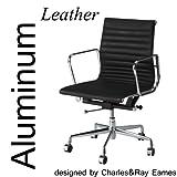 イームズ アルミナムグループチェア(Aluminum Chair) ブラック 革 ローバック・フラッドパッドアルミナムチェア チャールズ・レイ・イームズ