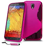 Samsung Galaxy Note 3 Hot Pink S Line Silicone Grip Series Wave Gel Case Skin Cover Mini Touch Stylus Pen Screen Protector & Polishing Cloth SVL48 BY SHUKAN, (HOT PINK)