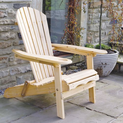Garden Furniture / Patio Newby Wooden Adirondack Arm Chair / Lounger with pull out Leg Rest