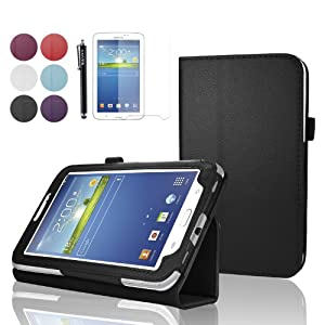 "SAVFY Samsung Galaxy Tab 3 7.0 7-inch Leather Case Cover and Flip Stand, Bonus: + Screen Protector + Stylus Pen + SAVFY Cleaning Cloth (for Galaxy Tab 3 7"" INCH P3200/ P3210, WiFi or 3G+WiFi), NOT Suitable for Tab 3 7"" Lite £¨T110£©(flip stand BLACK)"