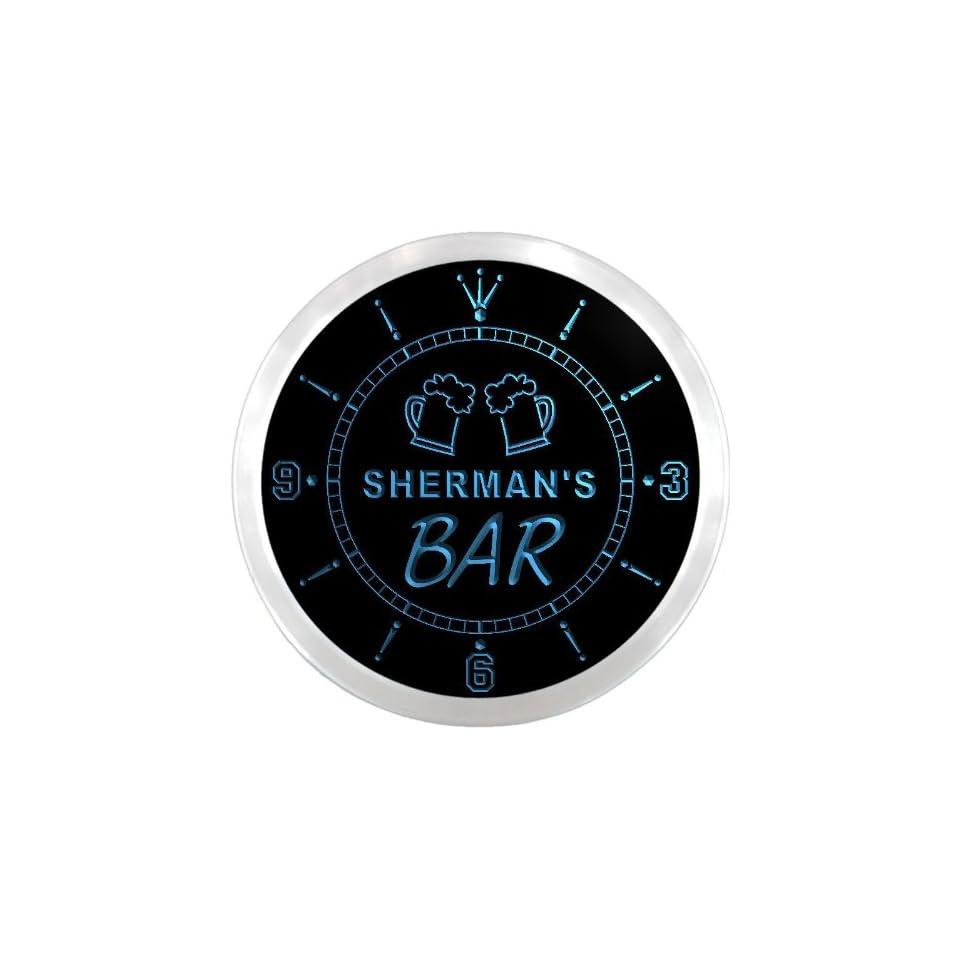 ncpv1420 b SHERMANS Home Bar Beer Mugs Pub LED Neon Sign Wall Clock