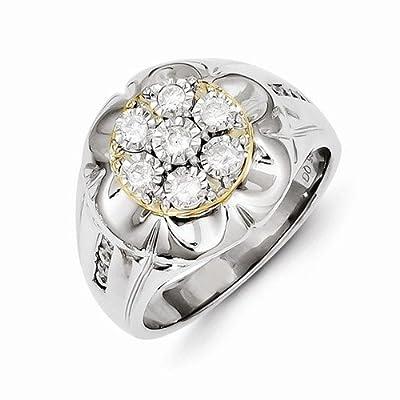 Solid 14k White Gold Diamond Men's Wedding Ring Band (1/2 cttw) (16mm)