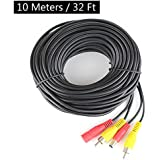 HitCar RCA DC Power Audio Video AV Extension Cable for CCTV Security, Car Tuck Bus Trailer Reverse Parking Camera (10 Meters)