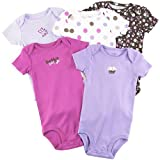 "Carter's Girls ""Little Layette"" 5-pack Cotton Knit Short Sleeve Bodysuits ""I Make Mommy Smile"" (6 Months)"