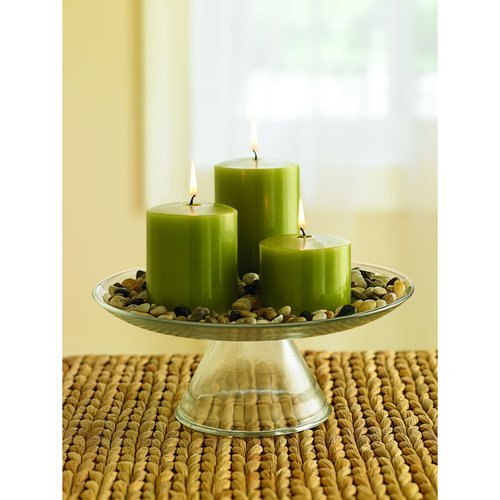 Set of 3 Green Midnight Woods Scented Pillar Candles 2x3 3x3 3x4 with Nice Decorative Rocks and Glass Holder Included