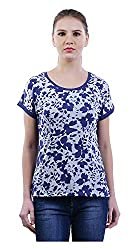 MERCH21 Women's Regular Fit Top (MERCH-347-MULTICOLOR, Blue and White, XL)
