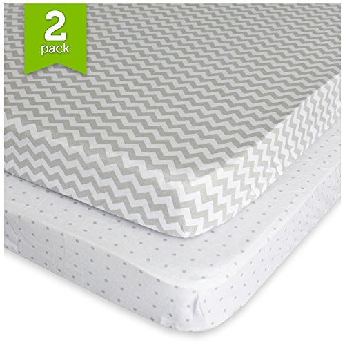 Ziggy Baby Pack N Play Playard Sheet Set Fitted Jersey Knit Cotton Portable Mini Crib Sheets Chevron, Dot, Grey/White, 2 Pack (Play Yard Fitted Sheet compare prices)