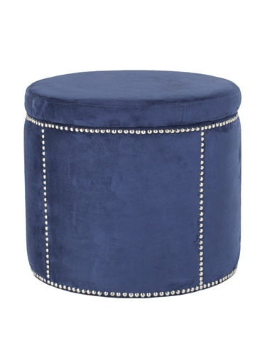 Safavieh Mercer Modern Collection Kyle Round Storage Ottoman, Navy/Nickel