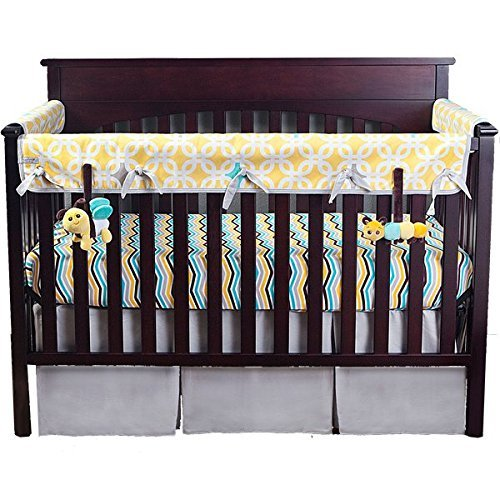 Babee Talk Babee Talk Eco-Teether Crib Rail Cover - 18 In. Front - Yellow (With Bonus Bee and Caterpillar Take-Along Pals)