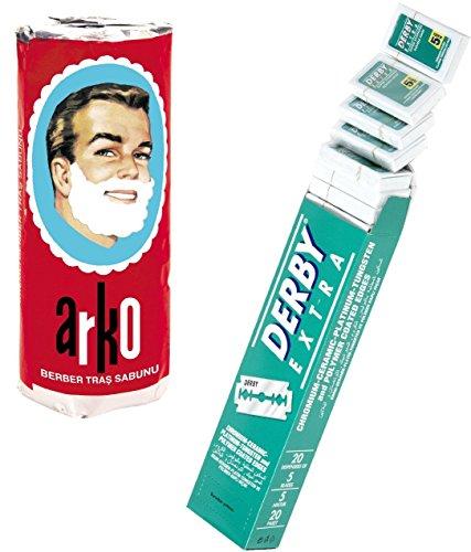 derby-extra-double-edge-razor-blades-and-free-arko-shaving-cream-soap-stick