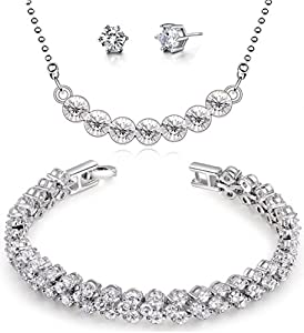 FLORAY Ladies Transparent Crystals Pendant Necklace and Bracelet and Stud Earrings Jewellery Set