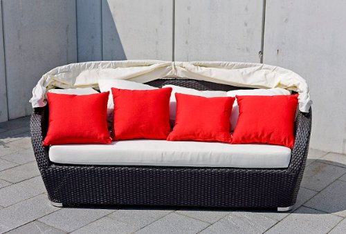 Wicker Outdoor Furniture Daybed SUNNY - Black