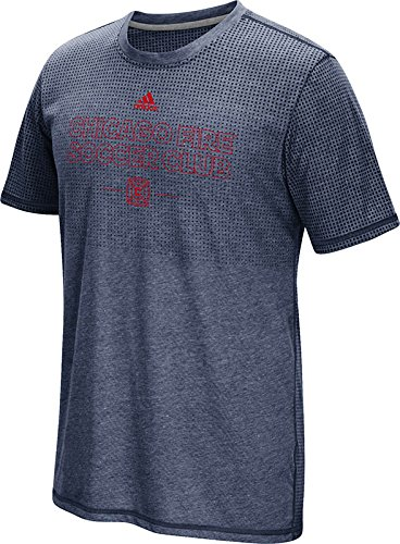 MLS Chicago Fire Men's Club Authentic 16 Climacool Short Sleeve Tee, XX-Large, Heathered Navy